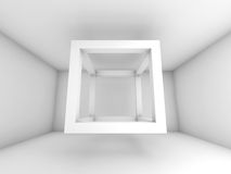 3d background illustration, flying empty beam cube. Abstract white room interior. 3d background illustration with flying empty beam cube structure Royalty Free Stock Image