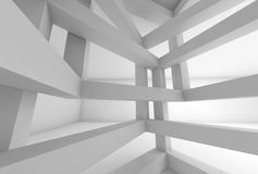 3d background. Internal space of white braced construction. 3d Abstract architecture background. Internal space of white chaotic braced construction Stock Photos
