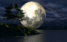 3D background with island in sea. Against a moonlit sky Royalty Free Stock Images