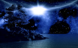 3D background with island in sea. Against a moonlit sky Royalty Free Stock Photos