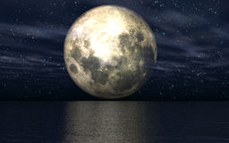 3D background with moon over sea. 3D landscape with the moon over the sea Royalty Free Stock Image
