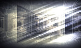 3 d background, perspective wire-frame view Stock Photography