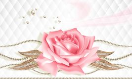 3D background, pink rose on white abstract background. 3D wallpaper, rose and jewelry flowers on white abstract background. Celebration 3d background stock illustration