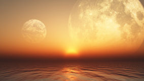 3D background with planets and sea Royalty Free Stock Photos
