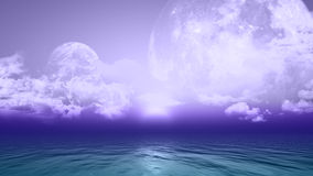 3D background with planets and sea. 3D background with fictional planets over the ocean Royalty Free Stock Images