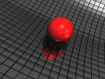 3d background with red ball. And black mirrors Stock Image