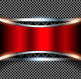 3D background red. 3D background with red metal banner, vector illustration Stock Images