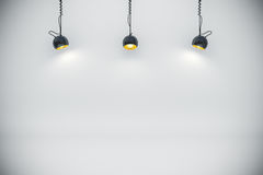 3d background setup with lighting lamps. 3d blank background setup with lighting lamps Royalty Free Stock Photos