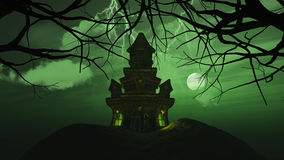 3D background with spooky castle in haunting landscape Royalty Free Stock Images