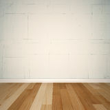3d background - white brick wall and wood floor. White brick wall and wood floor Stock Photo