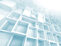 3d background with white and light blue empty shelves. Abstract empty 3d background with white and light blue empty cube shelves on the wall stock illustration