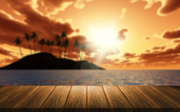 3D background of a wooden table looking out to a palm tree islan Royalty Free Stock Photo