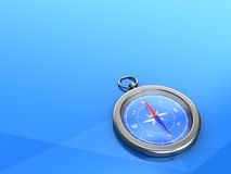 3d backgrounds with a compass. Compass on blue background with empty space Stock Images