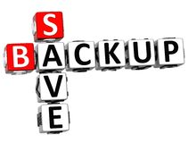 3D Backup Data Crossword Royalty Free Stock Photography