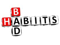 3D Bad Habits Crossword text. On white background Stock Images