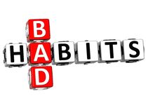 3D Bad Habits Crossword text. On white background Stock Photos