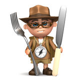 3d badacz przygotowywający dla gościa restauracji royalty ilustracja