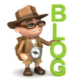 3d badacza blog ilustracja wektor
