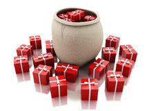 3d bag full of red gift boxes. Christmas concept. Royalty Free Stock Photo