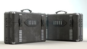 3D bag. Two camera briefcase on white background Royalty Free Stock Photo