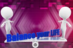 3d balance your life illustration Royalty Free Stock Photos