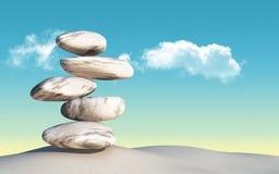 3D balancing pebbles Stock Image