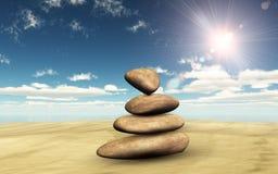 3D balancing pebbles on sand against a sunny sky. 3D render of balancing pebbles on sand against a sunny sky Stock Photo