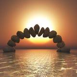 3d balansuje rockową formację w zmierzchu oceanie royalty ilustracja