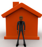 3d bald head  bald head  man with house model concept Royalty Free Stock Photography