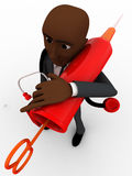 3d bald head  man with big injection and other medical equipment with him concept Stock Photography