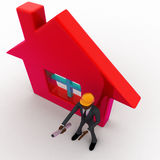 3d bald head man builder with house model and plan in hand concept Royalty Free Stock Images