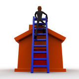 3d bald head  man climb to roof of the house using ladder concept Stock Images
