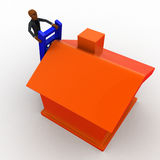 3d bald head  man climb to roof of the house using ladder concept Royalty Free Stock Photography