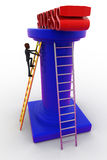 3d bald head man climbing to success ladder using ladder concept Stock Images