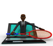 3d bald head man come through laptop screen with tennis racket to represent online shopping concept Stock Photos