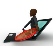 3d bald head man come through laptop screen with tennis racket to represent online shopping concept Stock Photo