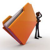 3d bald head man confused and with big file folder concept Stock Photos