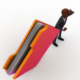 3d bald head man confused and with big file folder concept Stock Photography