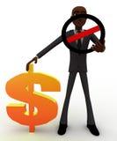 3d bald head  man dollar sign and stop symbol concept Stock Photos