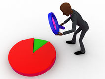 3d bald head  man examine pie graph using magnifying glass concept Royalty Free Stock Photography