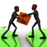 3d bald head man giving box to another bald head man on river concept Royalty Free Stock Image