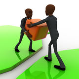 3d bald head man giving box to another bald head man on river concept Royalty Free Stock Photo