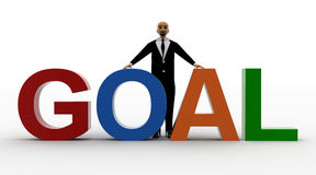 3d bald head man with goal. Front view concept Stock Photography