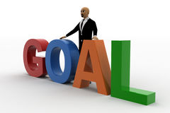 3d bald head man with goal Royalty Free Stock Image