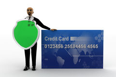 3d bald head man holading shield and with credit card. Front view concept Royalty Free Stock Photo