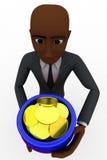 3d bald head  man holding pot full of golden coins concept Stock Photos