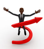 3d bald head  man jump in air and arrow around him concept Stock Images
