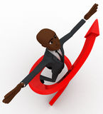 3d bald head  man jump in air and arrow around him concept Stock Image