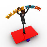 3d bald head man jumping on seesaw with balance your life text concept Royalty Free Stock Image