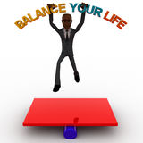 3d bald head man jumping on seesaw with balance your life text concept Stock Photography